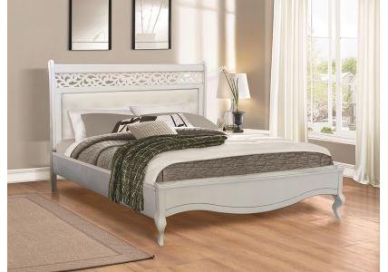 Кровать Лаура 160х200 белая/патина серебро
