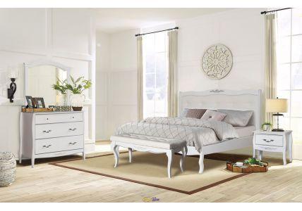 Кровать Александрия 1600 х 2000 белый/патина серебро (экокожа)
